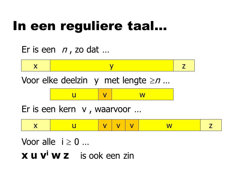 In een reguliere taal… vuwvuwxzvvyxz Er is een n, zo dat … Voor elke deelzin y met lengte  n … Er is een kern v, waarvoor … Voor alle i  0 … x u v i