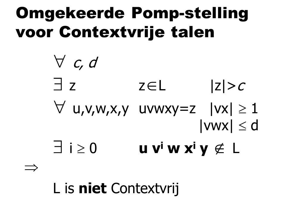 Omgekeerde Pomp-stelling voor Contextvrije talen  c, d  zz  L |z|>c  u,v,w,x,yuvwxy=z |vx|  1  i  0u v i w x i y  L  L is niet Contextvrij |vwx|  d