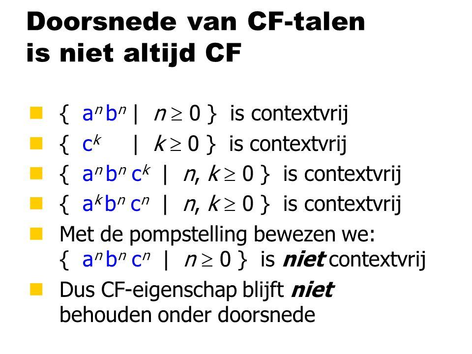 Doorsnede van CF-talen is niet altijd CF n { a n b n | n  0 } is contextvrij n { c k | k  0 } is contextvrij n { a n b n c k | n, k  0 } is contextvrij n { a k b n c n | n, k  0 } is contextvrij n Met de pompstelling bewezen we: { a n b n c n | n  0 } is niet contextvrij n Dus CF-eigenschap blijft niet behouden onder doorsnede