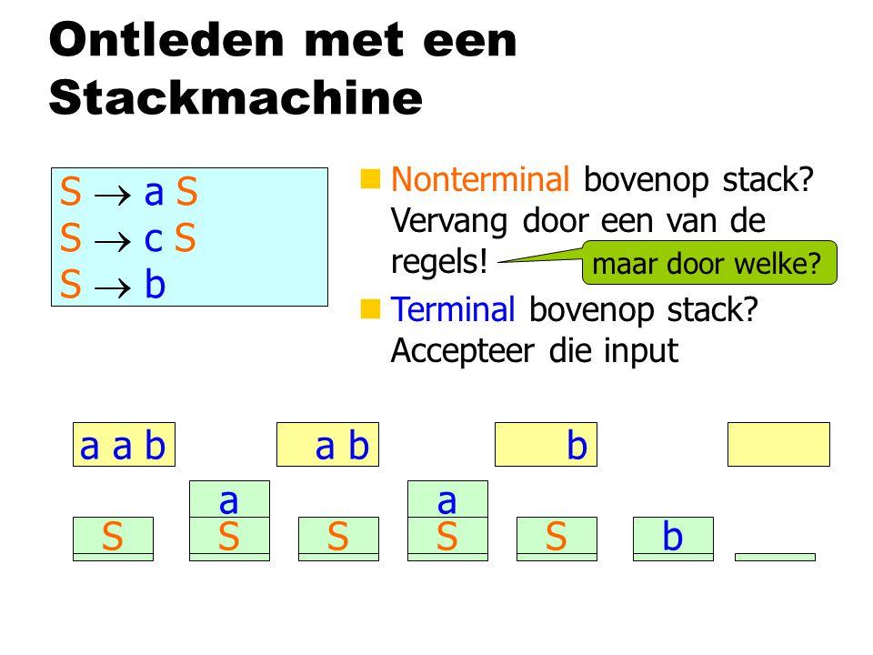 Ontleden met een Stackmachine S  a S S  c S S  b a a b nNonterminal bovenop stack? Vervang door een van de regels! nTerminal bovenop stack? Accepte