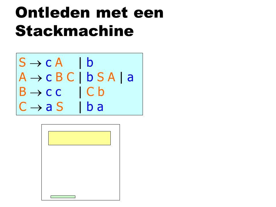 Ontleden met een Stackmachine S  c A | b A  c B C | b S A | a B  c c | C b C  a S | b a c c c c b a S A c c c c b a A C B c c c b a C B C c c c b a C c b a C a b a a