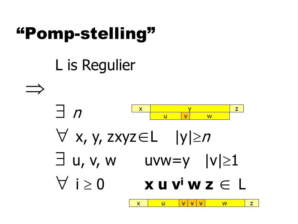 Pomp-stelling L is Regulier   n  x, y, zxyz  L|y|  n  u, v, wuvw=y|v|  1  i  0x u v i w z  L vuw vuwxzvvyxz