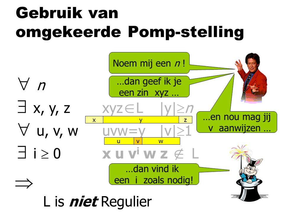 Gebruik van omgekeerde Pomp-stelling  n  x, y, zxyz  L|y|  n  u, v, wuvw=y|v|  1  i  0x u v i w z  L Noem mij een n ! …dan geef ik je een zin
