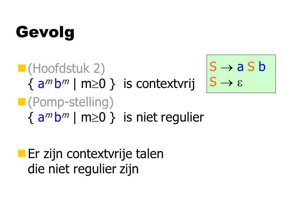 Gevolg n(Hoofdstuk 2) { a m b m | m  0 } is contextvrij n(Pomp-stelling) { a m b m | m  0 } is niet regulier nEr zijn contextvrije talen die niet regulier zijn S  a S bS  S  a S bS  