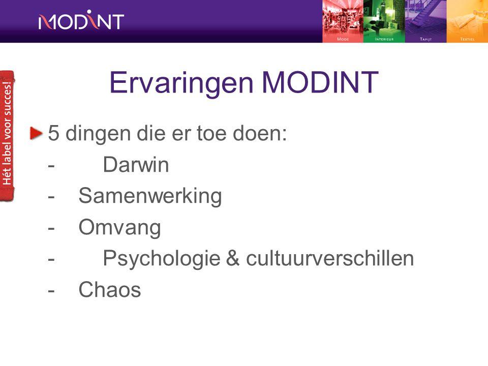 Ervaringen MODINT 5 dingen die er toe doen: -Darwin - Samenwerking - Omvang -Psychologie & cultuurverschillen - Chaos