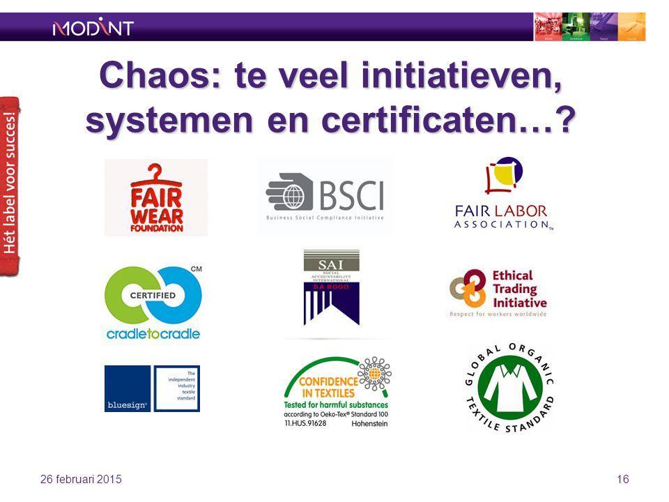 Chaos: te veel initiatieven, systemen en certificaten…? 26 februari 201516