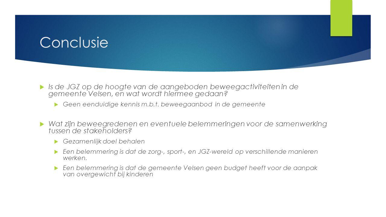Conclusie  Is de JGZ op de hoogte van de aangeboden beweegactiviteiten in de gemeente Velsen, en wat wordt hiermee gedaan?  Geen eenduidige kennis m