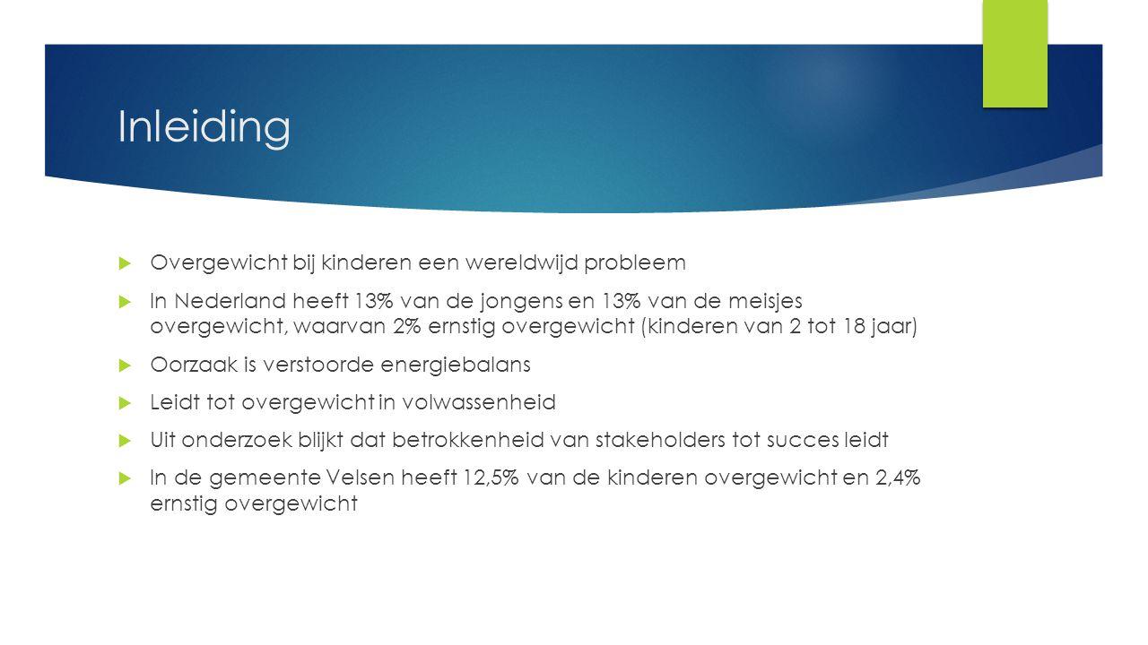 Inleiding  Overgewicht bij kinderen een wereldwijd probleem  In Nederland heeft 13% van de jongens en 13% van de meisjes overgewicht, waarvan 2% ern