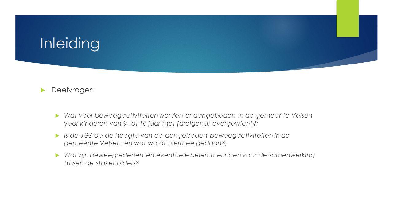 Inleiding  Deelvragen:  Wat voor beweegactiviteiten worden er aangeboden in de gemeente Velsen voor kinderen van 9 tot 18 jaar met (dreigend) overge
