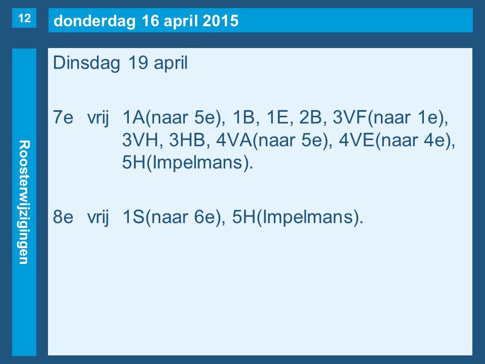 donderdag 16 april 2015 Roosterwijzigingen Dinsdag 19 april 7evrij1A(naar 5e), 1B, 1E, 2B, 3VF(naar 1e), 3VH, 3HB, 4VA(naar 5e), 4VE(naar 4e), 5H(Impelmans).
