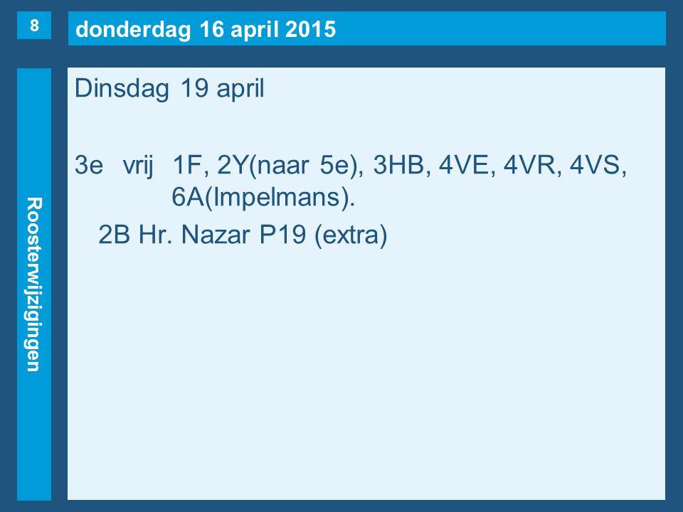 donderdag 16 april 2015 Roosterwijzigingen Dinsdag 19 april 3evrij1F, 2Y(naar 5e), 3HB, 4VE, 4VR, 4VS, 6A(Impelmans). 2B Hr. Nazar P19 (extra) 8