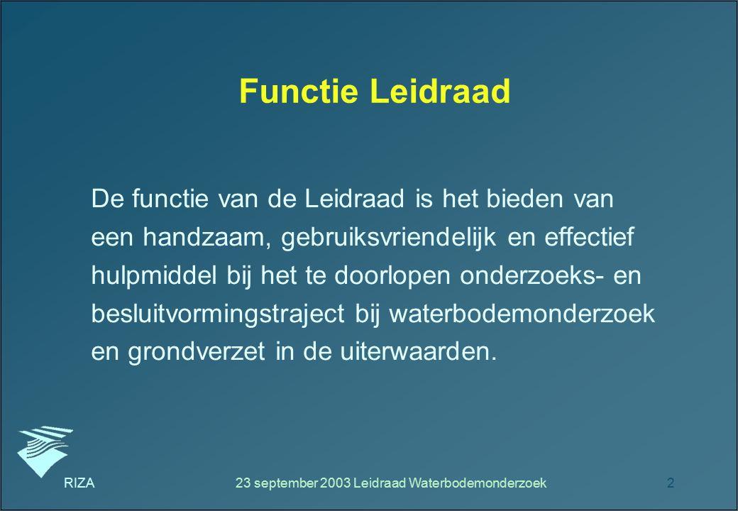 RIZA23 september 2003 Leidraad Waterbodemonderzoek2 Functie Leidraad De functie van de Leidraad is het bieden van een handzaam, gebruiksvriendelijk en