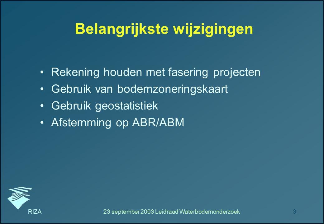 RIZA23 september 2003 Leidraad Waterbodemonderzoek3 Belangrijkste wijzigingen Rekening houden met fasering projecten Gebruik van bodemzoneringskaart G