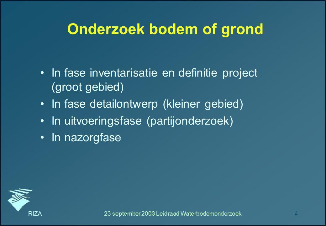 RIZA23 september 2003 Leidraad Waterbodemonderzoek4 Onderzoek bodem of grond In fase inventarisatie en definitie project (groot gebied) In fase detail