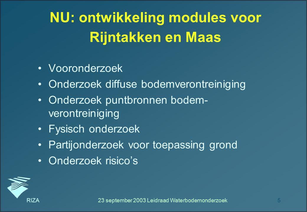 RIZA23 september 2003 Leidraad Waterbodemonderzoek5 NU: ontwikkeling modules voor Rijntakken en Maas Vooronderzoek Onderzoek diffuse bodemverontreinig