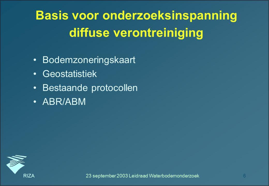 RIZA23 september 2003 Leidraad Waterbodemonderzoek6 Basis voor onderzoeksinspanning diffuse verontreiniging Bodemzoneringskaart Geostatistiek Bestaand
