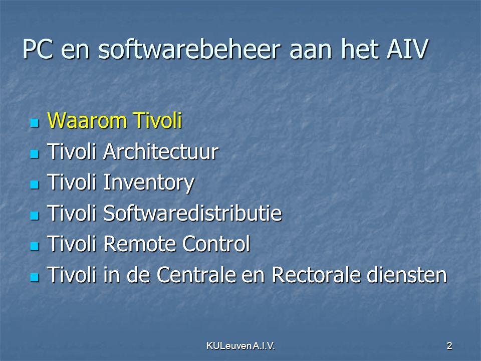 KULeuven A.I.V.2 PC en softwarebeheer aan het AIV Waarom Tivoli Waarom Tivoli Tivoli Architectuur Tivoli Architectuur Tivoli Inventory Tivoli Inventor