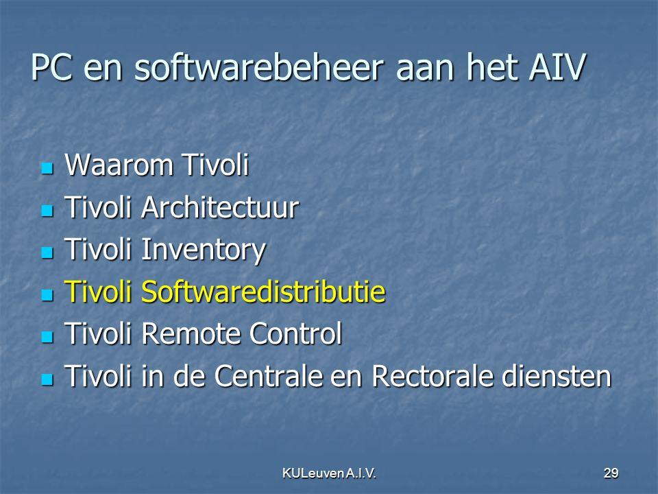 KULeuven A.I.V.29 PC en softwarebeheer aan het AIV Waarom Tivoli Waarom Tivoli Tivoli Architectuur Tivoli Architectuur Tivoli Inventory Tivoli Invento