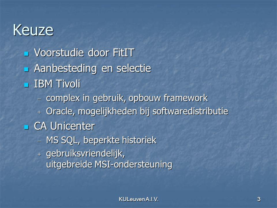 KULeuven A.I.V.3 Keuze Voorstudie door FitIT Voorstudie door FitIT Aanbesteding en selectie Aanbesteding en selectie IBM Tivoli IBM Tivoli − complex i