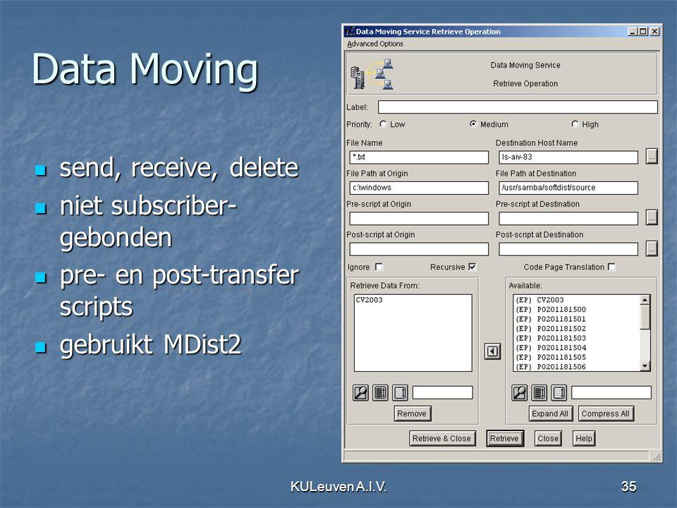 KULeuven A.I.V.35 Data Moving send, receive, delete send, receive, delete niet subscriber- gebonden niet subscriber- gebonden pre- en post-transfer scripts pre- en post-transfer scripts gebruikt MDist2 gebruikt MDist2