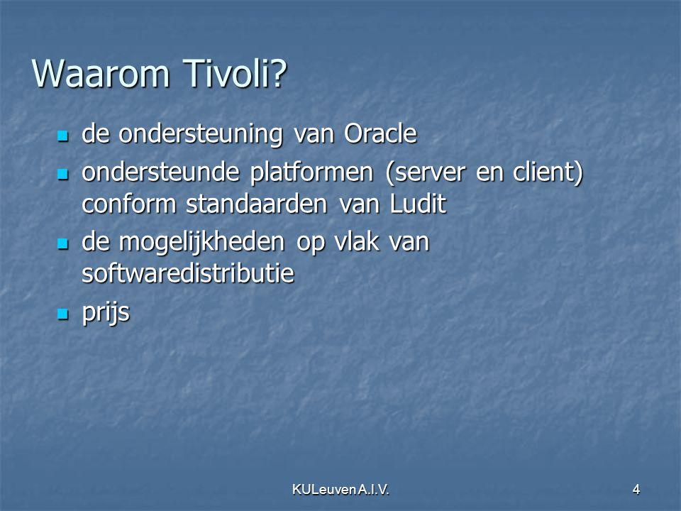 KULeuven A.I.V.15 TMR Server beheert ganse TMR beheert ganse TMR houdt TMR database bij houdt TMR database bij is Endpoint Manager is Endpoint Manager is Repeater Manager is Repeater Manager platformen Windows, Unix, Linux, AIX,...