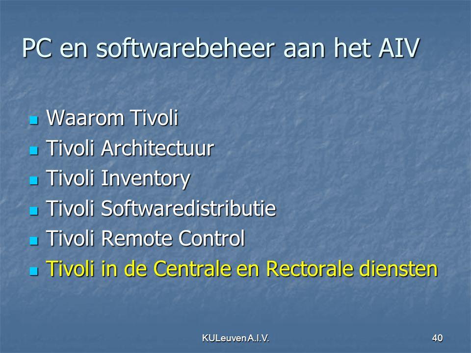 KULeuven A.I.V.40 PC en softwarebeheer aan het AIV Waarom Tivoli Waarom Tivoli Tivoli Architectuur Tivoli Architectuur Tivoli Inventory Tivoli Invento