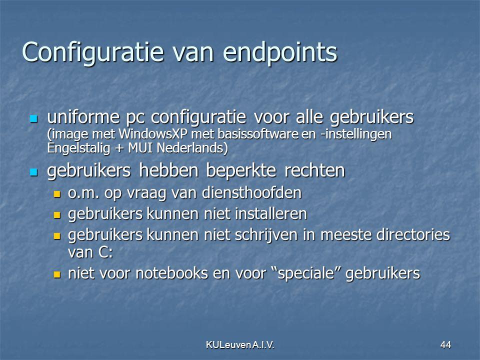 KULeuven A.I.V.44 Configuratie van endpoints uniforme pc configuratie voor alle gebruikers (image met WindowsXP met basissoftware en -instellingen Engelstalig + MUI Nederlands) uniforme pc configuratie voor alle gebruikers (image met WindowsXP met basissoftware en -instellingen Engelstalig + MUI Nederlands) gebruikers hebben beperkte rechten gebruikers hebben beperkte rechten o.m.