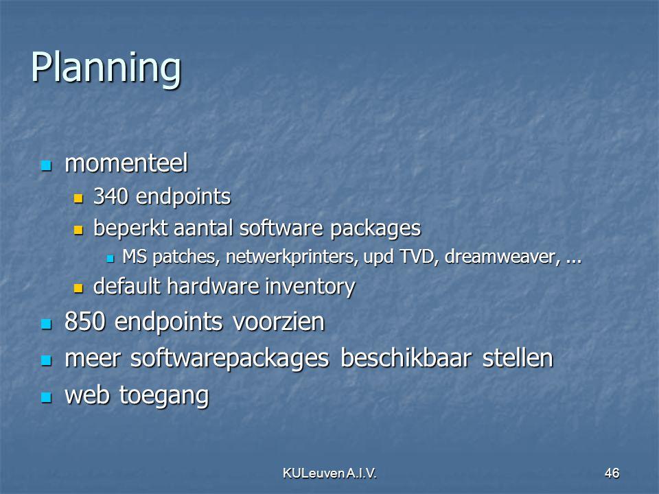 KULeuven A.I.V.46 Planning momenteel momenteel 340 endpoints 340 endpoints beperkt aantal software packages beperkt aantal software packages MS patches, netwerkprinters, upd TVD, dreamweaver,...