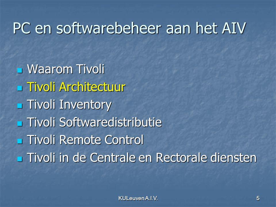 KULeuven A.I.V.6 Tivoli Management Framework Managed resources Extended Management Framework Management Applications Storage Asset Change Operations...