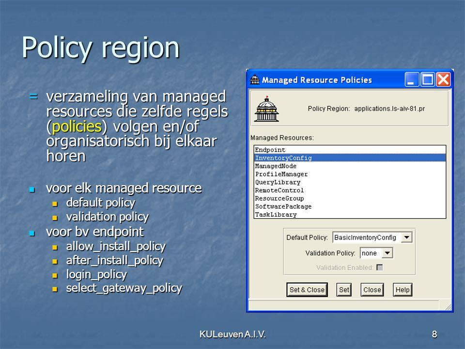KULeuven A.I.V.9 Managed Resources Managed Node Managed Node Endpoint Endpoint ProfileManager ProfileManager QueryLibrary QueryLibrary TaskLibrary TaskLibrary......