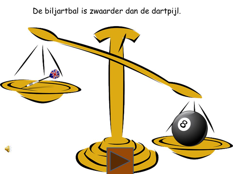 Wat is zwaarder, de dartpijl of de biljartbal?