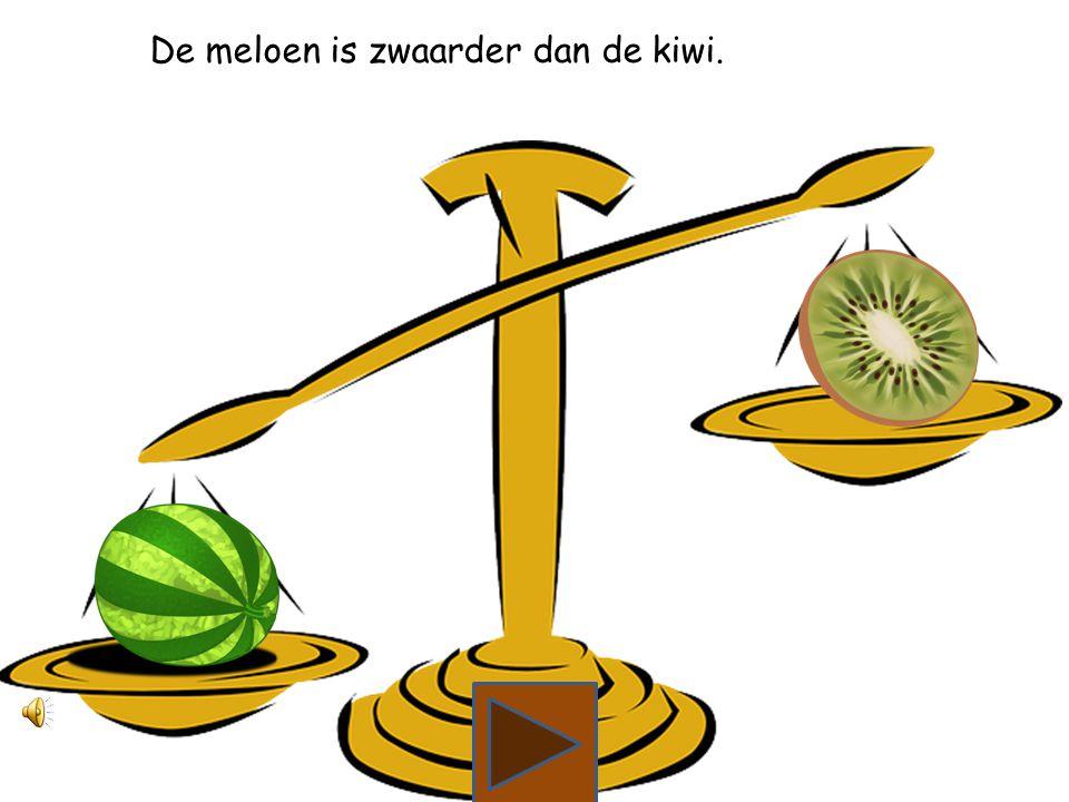 Wat is zwaarder, de meloen of de kiwi?