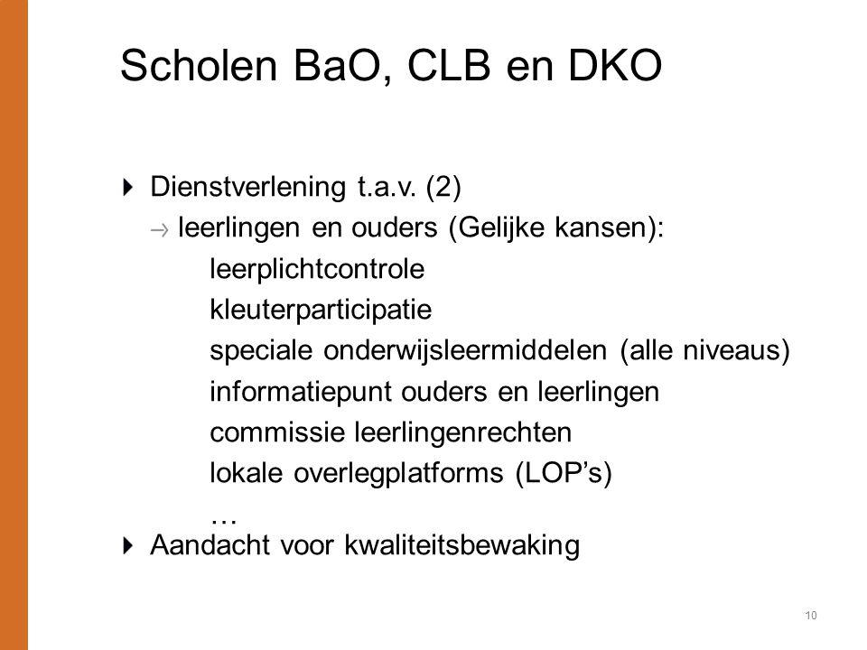 Scholen BaO, CLB en DKO Dienstverlening t.a.v. (2) leerlingen en ouders (Gelijke kansen): leerplichtcontrole kleuterparticipatie speciale onderwijslee