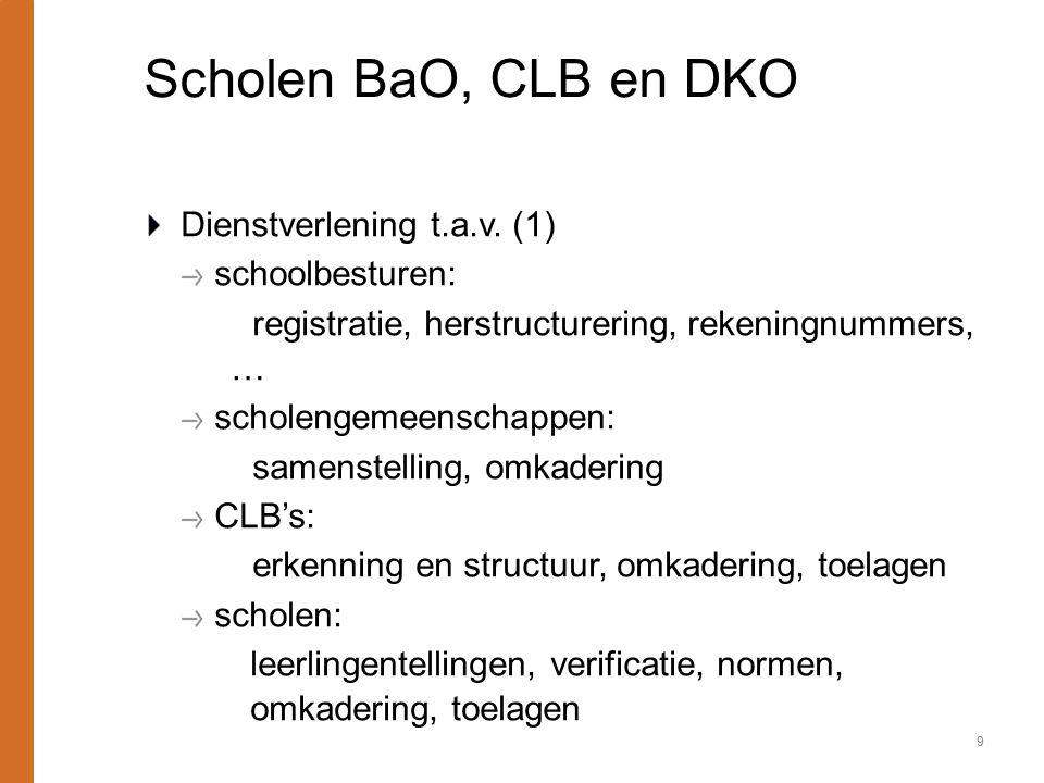 Scholen BaO, CLB en DKO Dienstverlening t.a.v. (1) schoolbesturen: registratie, herstructurering, rekeningnummers, … scholengemeenschappen: samenstell