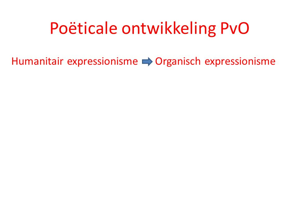 Poëticale ontwikkeling PvO Humanitair expressionismeOrganisch expressionisme