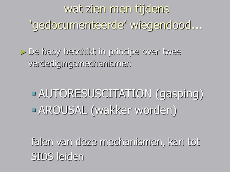► De baby beschikt in principe over twee verdedigingsmechanismen  AUTORESUSCITATION (gasping)  AROUSAL (wakker worden) falen van deze mechanismen, k