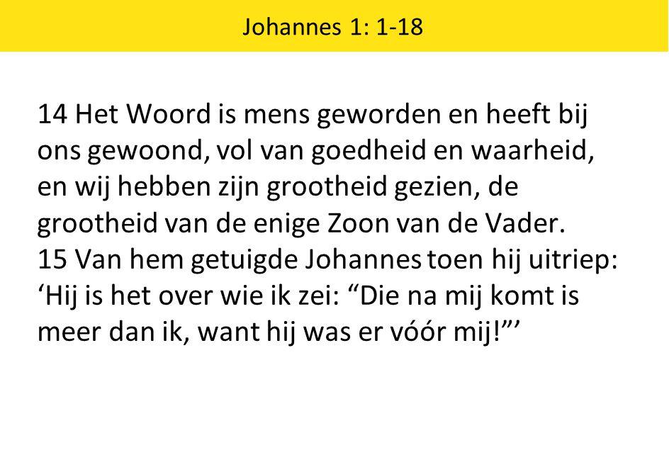 Johannes 1: 1-18 14 Het Woord is mens geworden en heeft bij ons gewoond, vol van goedheid en waarheid, en wij hebben zijn grootheid gezien, de groothe
