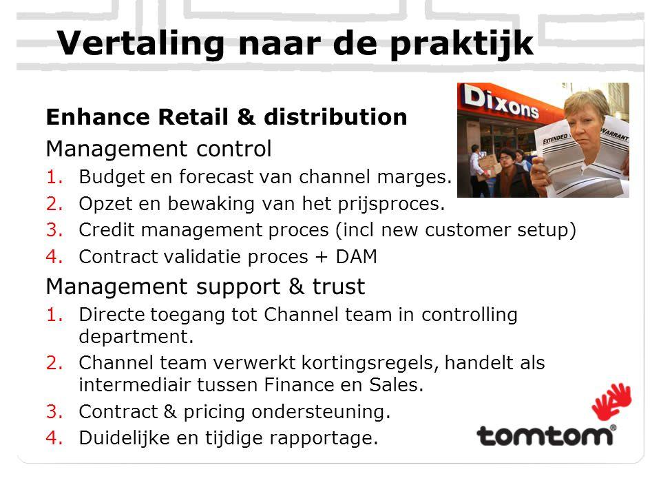 Vertaling naar de praktijk Enhance Retail & distribution Management control 1.Budget en forecast van channel marges. 2.Opzet en bewaking van het prijs