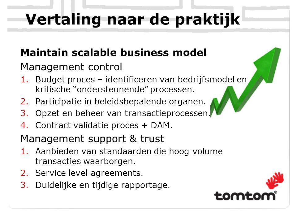 Vertaling naar de praktijk Maintain scalable business model Management control 1.Budget proces – identificeren van bedrijfsmodel en kritische ondersteunende processen.