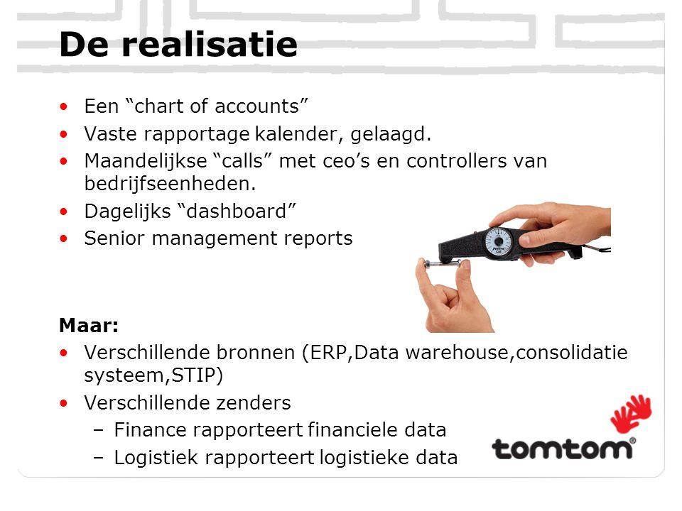 """De realisatie Een """"chart of accounts"""" Vaste rapportage kalender, gelaagd. Maandelijkse """"calls"""" met ceo's en controllers van bedrijfseenheden. Dagelijk"""