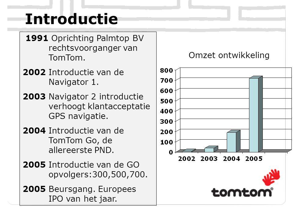 Introductie 1991 Oprichting Palmtop BV rechtsvoorganger van TomTom. 2002 Introductie van de Navigator 1. 2003 Navigator 2 introductie verhoogt klantac