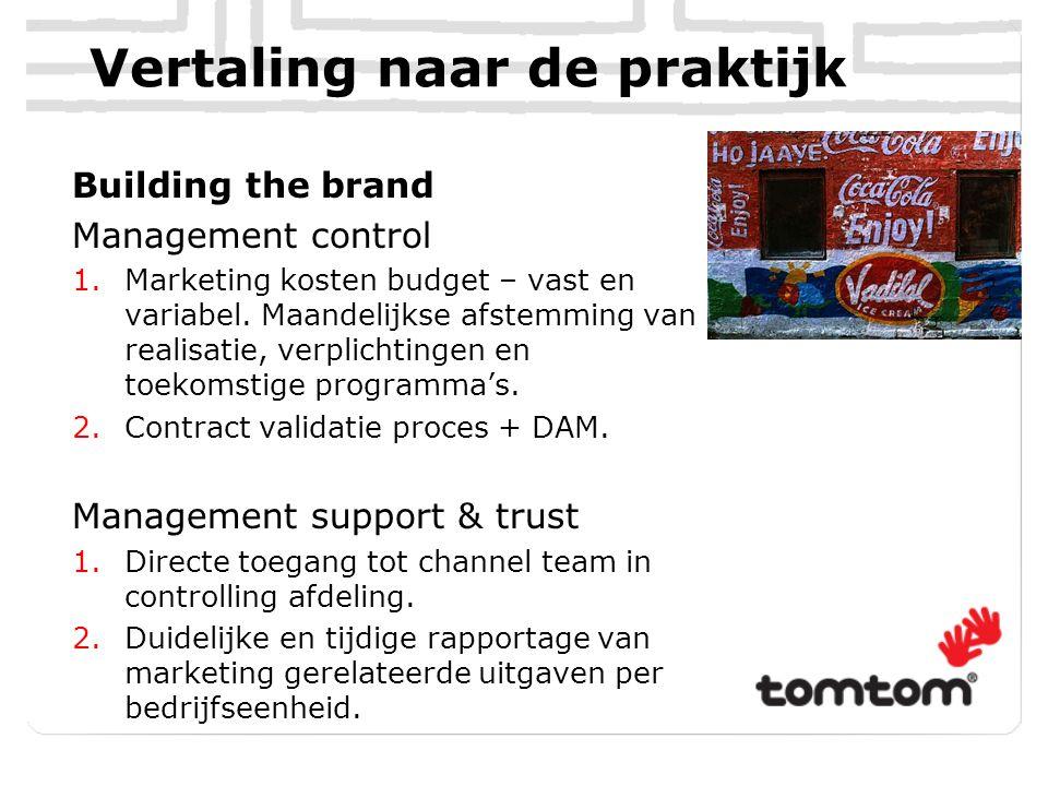 Vertaling naar de praktijk Building the brand Management control 1.Marketing kosten budget – vast en variabel. Maandelijkse afstemming van realisatie,
