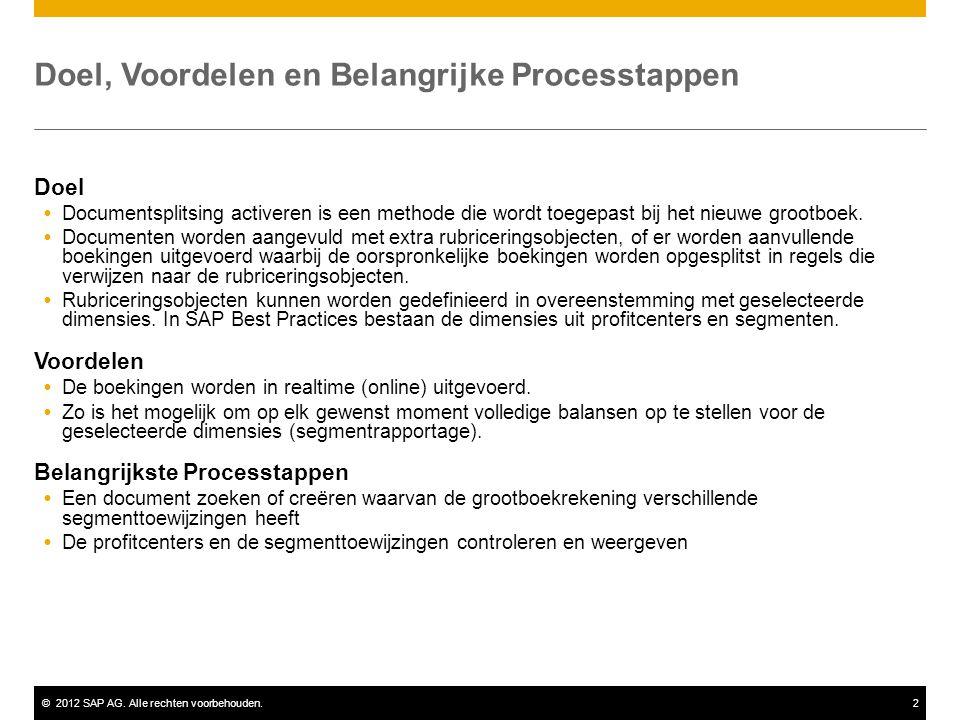 ©2012 SAP AG. Alle rechten voorbehouden.2 Doel  Documentsplitsing activeren is een methode die wordt toegepast bij het nieuwe grootboek.  Documenten