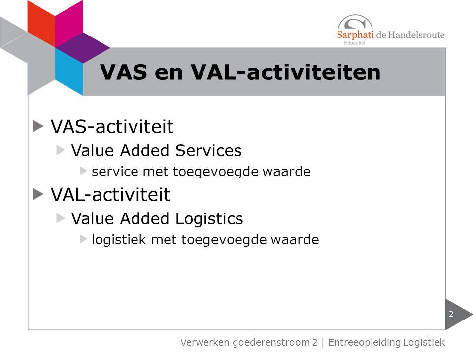VAS-activiteit Value Added Services service met toegevoegde waarde VAL-activiteit Value Added Logistics logistiek met toegevoegde waarde 2 Verwerken goederenstroom 2 | Entreeopleiding Logistiek VAS en VAL-activiteiten