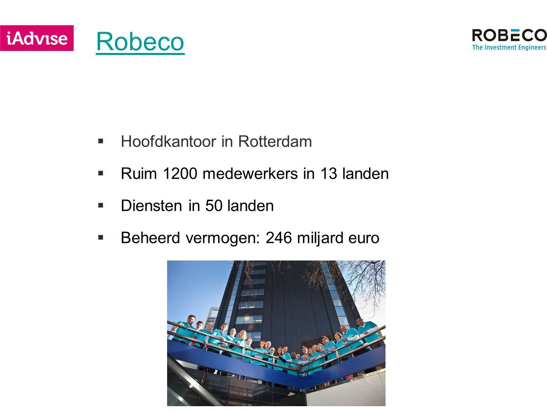 Robeco  Hoofdkantoor in Rotterdam  Ruim 1200 medewerkers in 13 landen  Diensten in 50 landen  Beheerd vermogen: 246 miljard euro