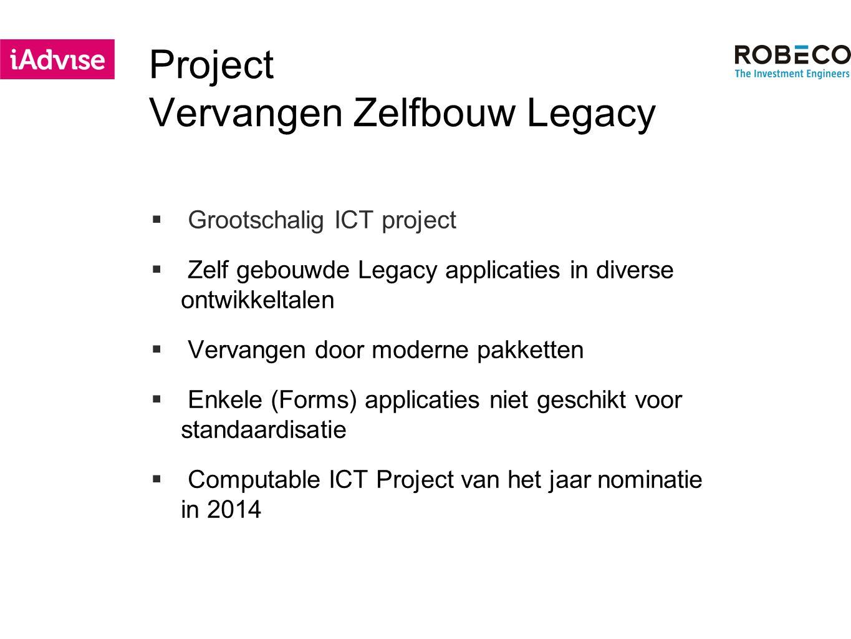 Project Vervangen Zelfbouw Legacy  Grootschalig ICT project  Zelf gebouwde Legacy applicaties in diverse ontwikkeltalen  Vervangen door moderne pakketten  Enkele (Forms) applicaties niet geschikt voor standaardisatie  Computable ICT Project van het jaar nominatie in 2014