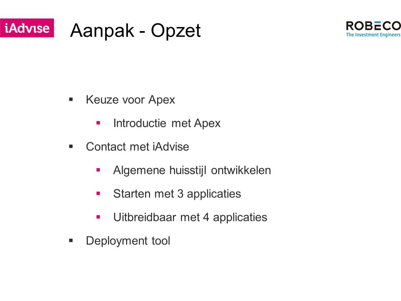 Aanpak - Opzet  Keuze voor Apex  Introductie met Apex  Contact met iAdvise  Algemene huisstijl ontwikkelen  Starten met 3 applicaties  Uitbreidbaar met 4 applicaties  Deployment tool
