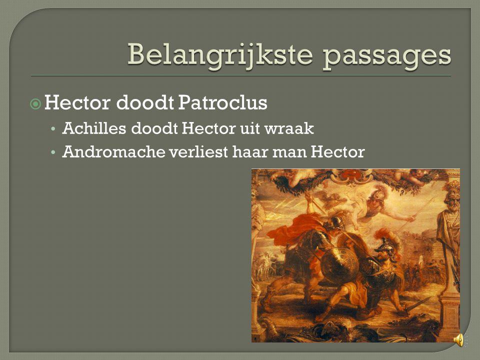  Hector doodt Patroclus Achilles doodt Hector uit wraak Andromache verliest haar man Hector