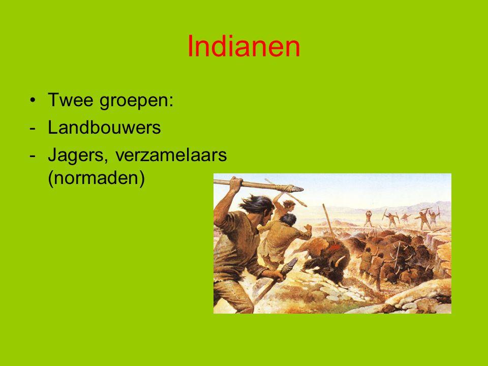 Indianen Twee groepen: -Landbouwers -Jagers, verzamelaars (normaden)