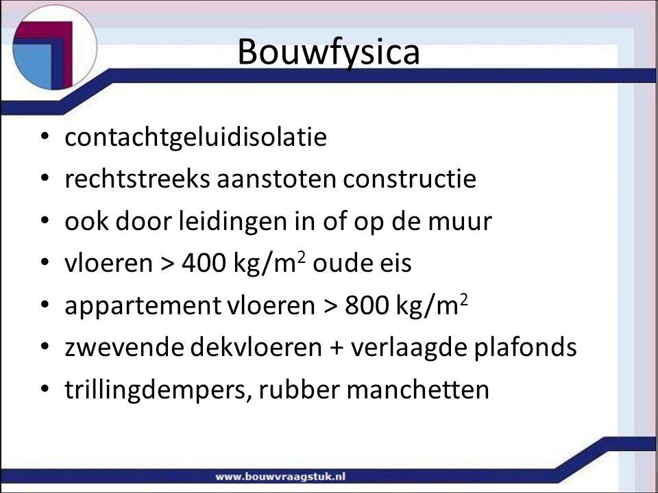 Bouwfysica contachtgeluidisolatie rechtstreeks aanstoten constructie ook door leidingen in of op de muur vloeren > 400 kg/m 2 oude eis appartement vlo